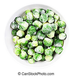 Brussels sprouts cabbage isolated on white background. -...
