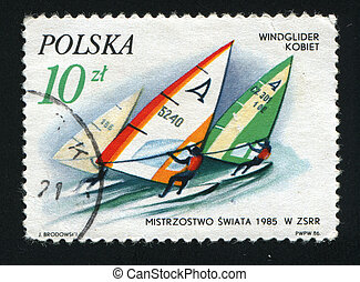 postmark - POLAND -CIRCA 1986: Sports competitions on...