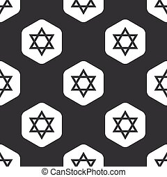Black hexagon Star David pattern - Image of Star of David in...