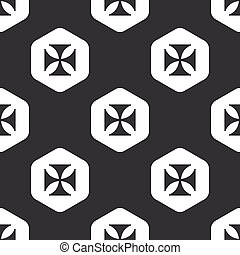 Black hexagon maltese cross pattern - Image of maltese cross...