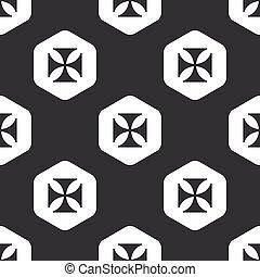 Black hexagon maltese cross pattern - Image of maltese cross...