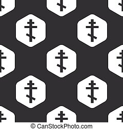 Black hexagon orthodox cross pattern - Image of orthodox...