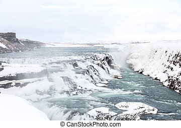 Gulfoss Waterfall Iceland Winter - Gulfoss Golden Falls...