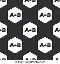 Black hexagon A B pattern - Letters A, B and arrow in...