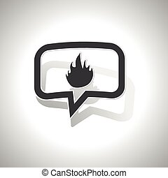 Curved fire message icon - Curved chat bubble with flame and...