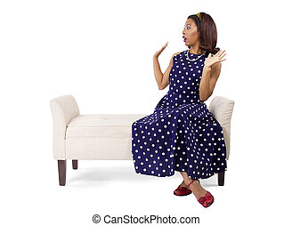 Black Pinup Girl in Polka Dot Dress - Woman wearing a blue...