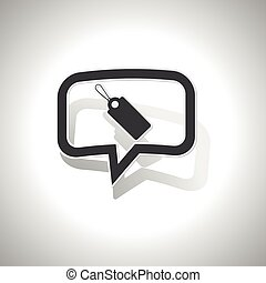Curved string tag message icon - Curved chat bubble with...