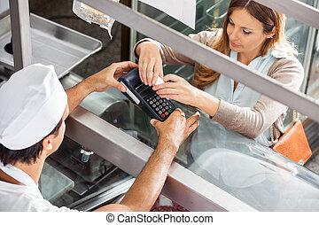 cliente, Pagar,  smartphone, Tienda, carnicero, por