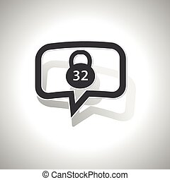 Curved dumbbell message icon - Curved chat bubble with 32 kg...