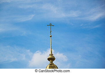 Orthodox cross on a dome of church