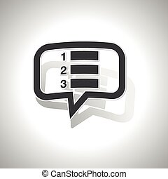 Curved numbered list message icon - Curved chat bubble with...
