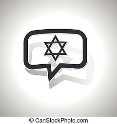 Curved Star David message icon - Curved chat bubble with...