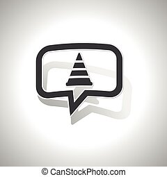 Curved traffic cone message icon - Curved chat bubble with...