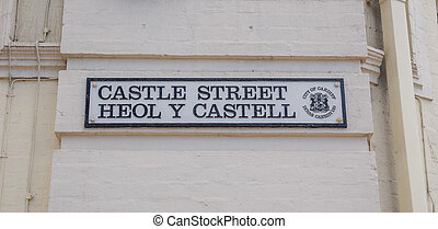 Bilingual welsh street sign in the centre of Cardiff in...