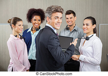 Happy Manager In Meeting With Customer Service...