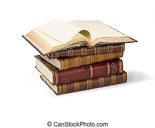 Old book pages - Old book isolated on white background with...