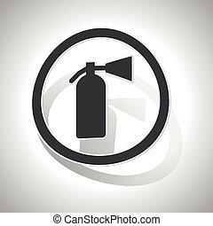 Curved fire extinguisher sign icon - Curved circle with...