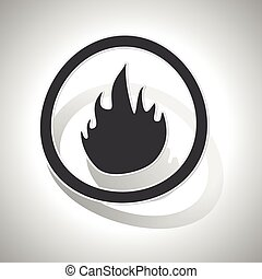 Curved fire sign icon - Curved circle with image of flame...