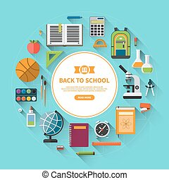 Back to school flat vector background - Back to school...