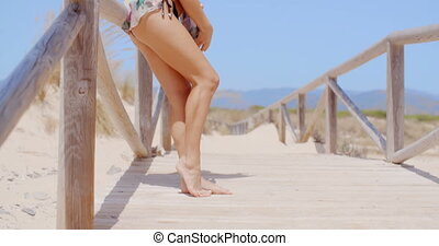 Seductive Woman Leaning Against Beach Pathway