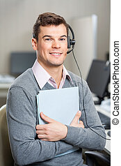 Young Customer Service Representative Holding File