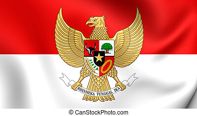 Flag of Indonesia - 3D Flag of the Indonesia. Close Up.