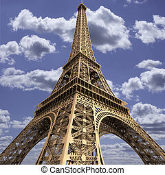 The Eiffel Tower - Wide-angle view of the Eiffel Tower,...