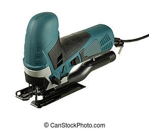 professional jig saw - new professional jig saw on a white...
