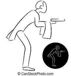 Cartoon Butler Icon - An image of a butler icon.