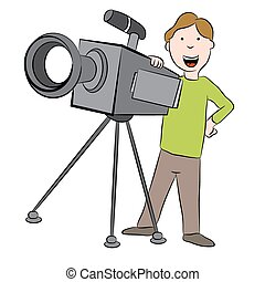 Cartoon Cameraman with Camera - An image of a cartoon...