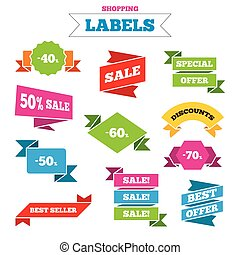 Sale discount icons Special offer price signs - Sale...