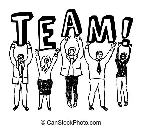 Group business people team sign monochrome