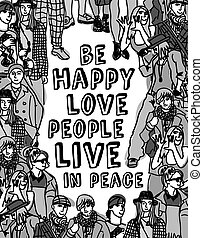 Love people positive emotion poster gray scale - Group happy...