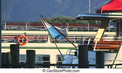 Bavarian flag on a steam boat - Bavarian flag in the wind on...
