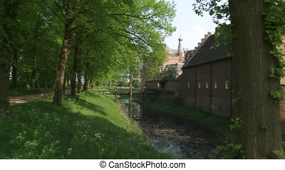 Pan moat Doorwerth medieval castle + wall backside - Pan...