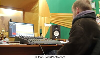 equipment in audio recording studio - sound works by mixing...