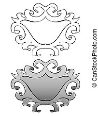set Frame with stucco Black outline and painted - Vector set...