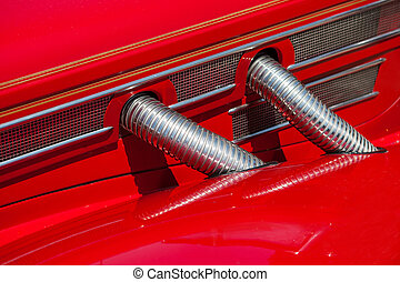 Red automobile exhaust system componen-corrugated pipe...