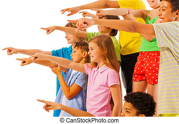 Large group of kids pointing finger side view - Large group...