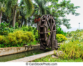 Waterwheel in Wood stock photo