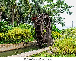 Waterwheel in Wood stock photo