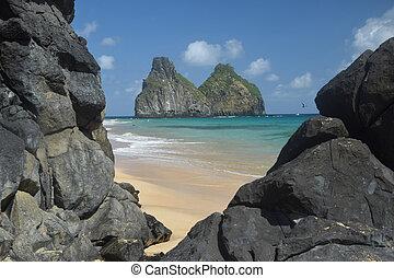 Crystalline sea beach in Fernando de Noronha,Brazil