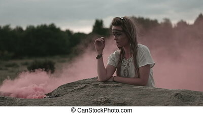 Woman Wearing Headdress With Smoke - Video of an attractive...