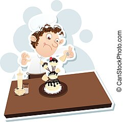 male pastry chef - cartoon male pastry chef decorating...