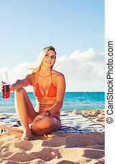 Summer Lifestyle, Happy Carefree Young Woman at the Beach