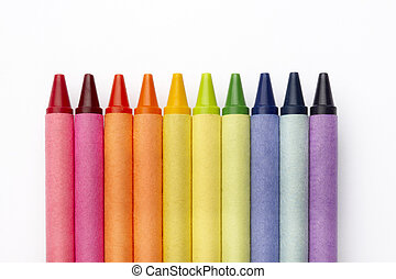 Colorful crayons - Group of crayons shot on white surface...
