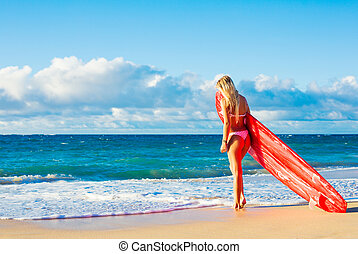 Blonde Surfer Girl on the Beach - Beautiful Blonde Surfer...
