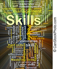 Skills background concept glowing - Background concept...