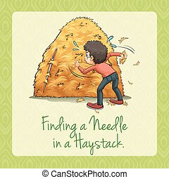 Finding needle in a haystack illustration