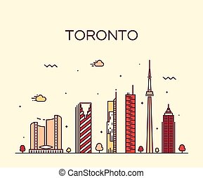 Toronto skyline trendy vector illustration linear - Toronto...